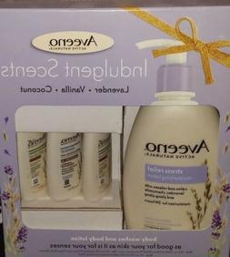 Aveeno Active Naturals Gift Set Vanilla Coconut Lavender Lot