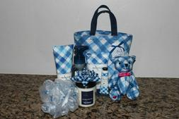 Bath & Body Works Gingham Tote 9 pc gift Set with Bear~Lotio