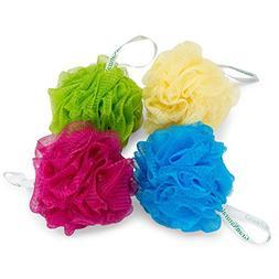 Bath & Shower Mesh Pouf Sponge Loofah - 4 Color Pack Set - S