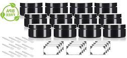Black PET Plastic  Refillable Low Profile Jar - 8 oz  + Spat