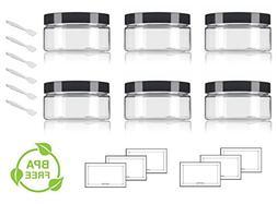 Clear PET Plastic  Refillable Low Profile Jar - 8 oz  + Spat