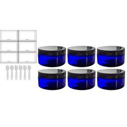 Cobalt Blue PET Plastic  Refillable Low Profile Jar - 8 oz