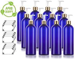 16 oz/500 ml Cobalt Blue Slim PET Plastic Bottles  with Gold