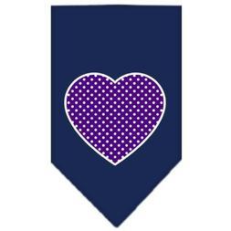 Dog Supplies Purple Swiss Dot Heart Screen Print Bandana Nav