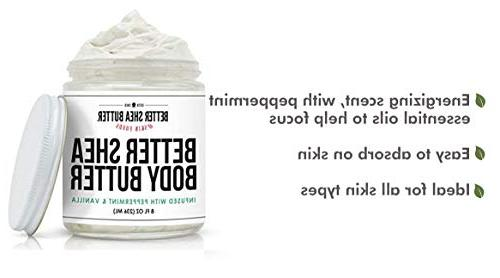Peppermint Vanilla - Scented Pure Essential of Peppermint and Vanilla Moisturizing, Non-Greasy, Absorbs 9 oz Shea Butter