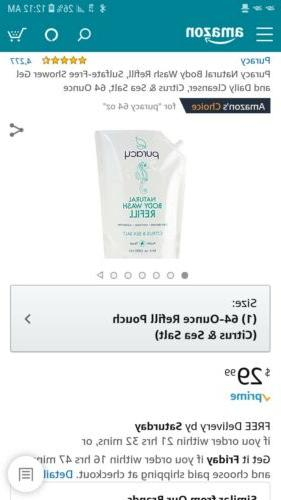 Puracy Natural Body Wash Refill, Sulfate-Free Shower Gel and
