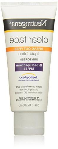 Neutrogena Clear Skin Sunscreen Lotion, SPF 55, 3 Ounce, Pac