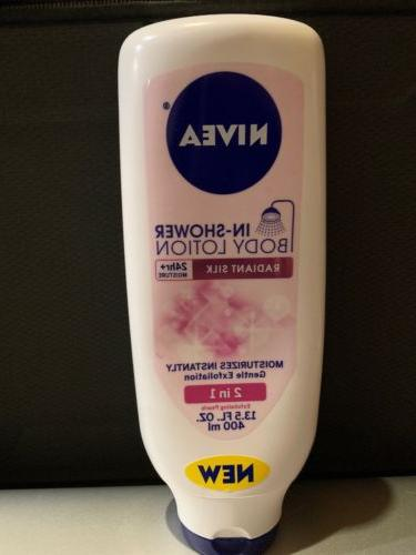in shower body lotion radiant silk exfoliate