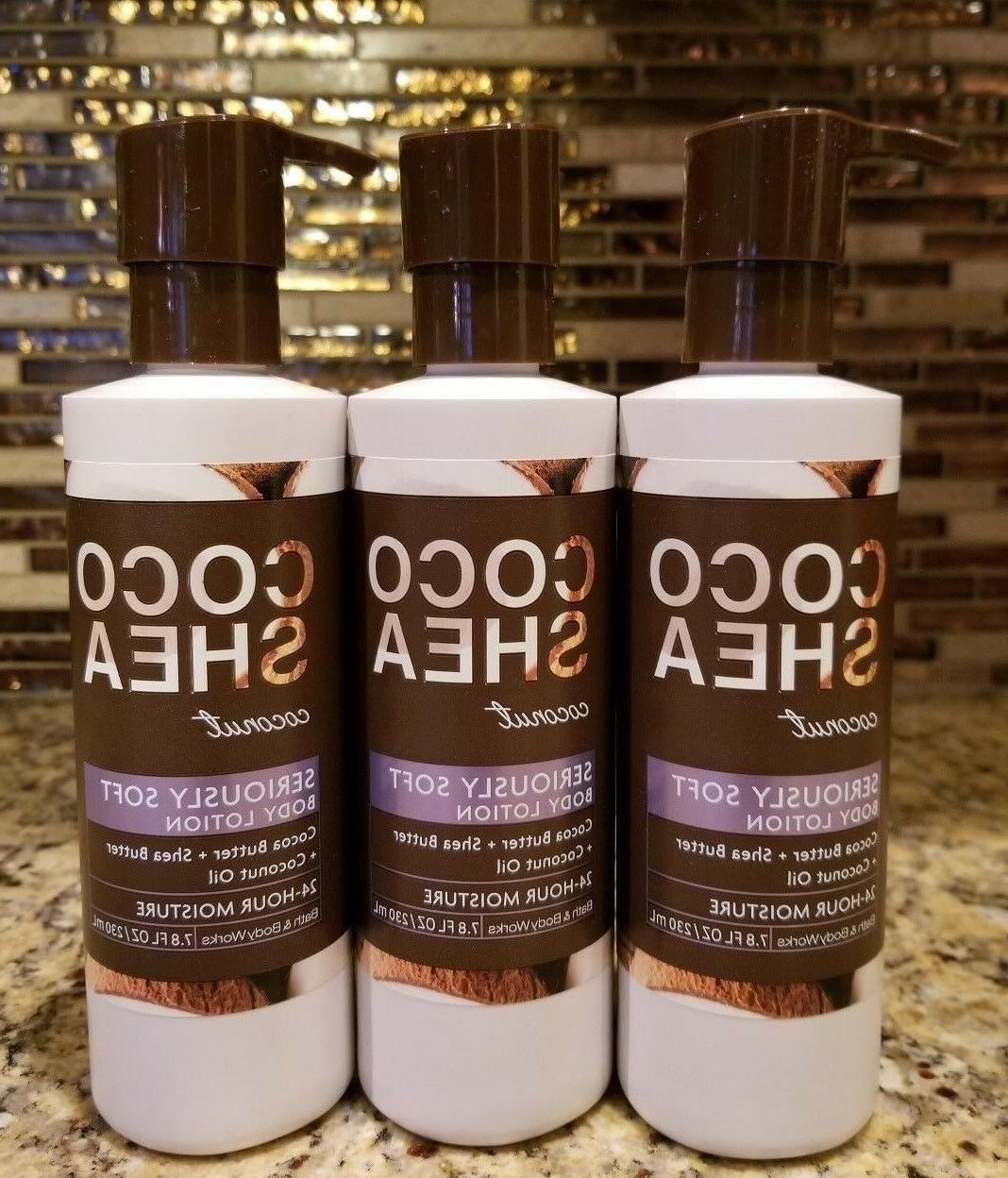 LOT OF 3 BATH AND BODY WORKS COCO SHEA COCONUT SERIOUSLY SOF