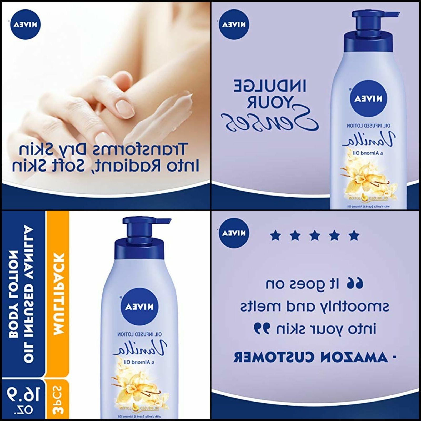 NIVEA Oil Infused Vanilla and Almond Oil Body Lotion, 16.9 F