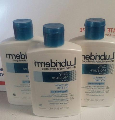 Pack of 3 Lubriderm Daily Moisture Lotion Fragrance Free 6 o