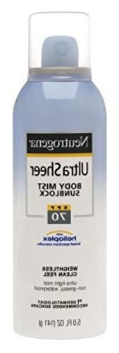 Neutrogena Ultra Sheer Body Spf70 Mist Spray 5 Ounce