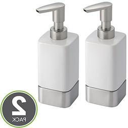mDesign Modern Square Ceramic Refillable Liquid Hand Soap Di