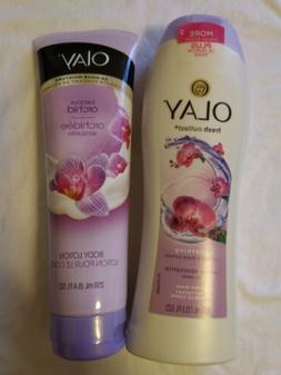 Lot of 2 Olay Body Lotion Tube Luscious Orchid 8.4Oz and Bod