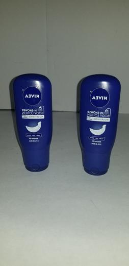 LOT OF 2 NEW NIVEA IN-SHOWER BODY LOTION NOURISHING SKING w/
