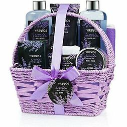 Home Spa Gift Basket, Luxurious 9 Piece Bath & Body Set for