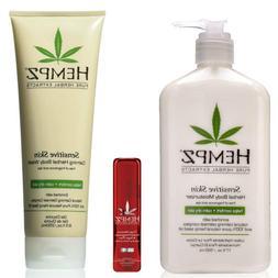 Hempz Sensitive Skin Herbal Body Moisturizer lotion, Wash &