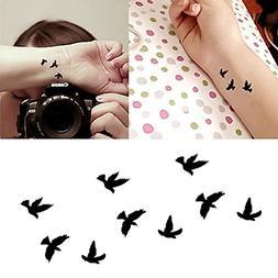 Oottati Small Cute Temporary Tattoo Black Bird Set of 2