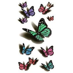 Oottati Small Cute Temporary Tattoo Butterfly 2 Sheets