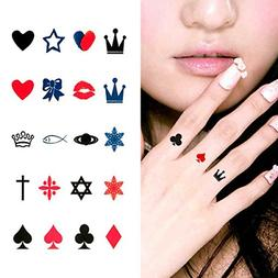 Oottati Small Cute Temporary Tattoo Finger Crown Spades Red