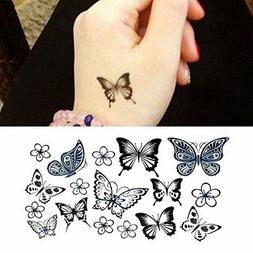 Oottati Small Cute Temporary Tattoo Hand Butterfly Set of 2