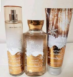 SNOWFLAKES AND & CASHMERE BATH BODY WORKS SET, LOT OF 3 BODY